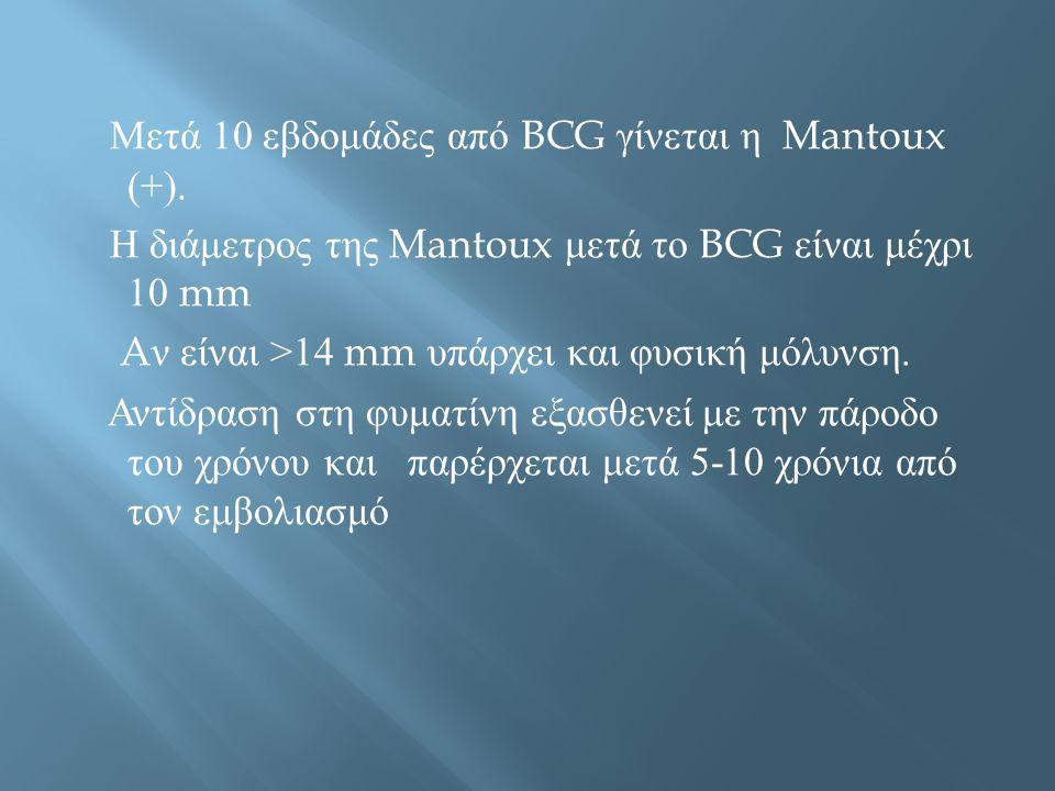 Μετά 10 εβδομάδες από BCG γίνεται η Mantoux (+)