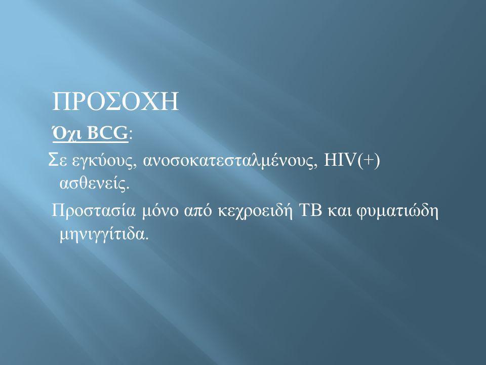 ΠΡΟΣΟΧΗ Όχι BCG: Σε εγκύους, ανοσοκατεσταλμένους, ΗIV(+) ασθενείς.