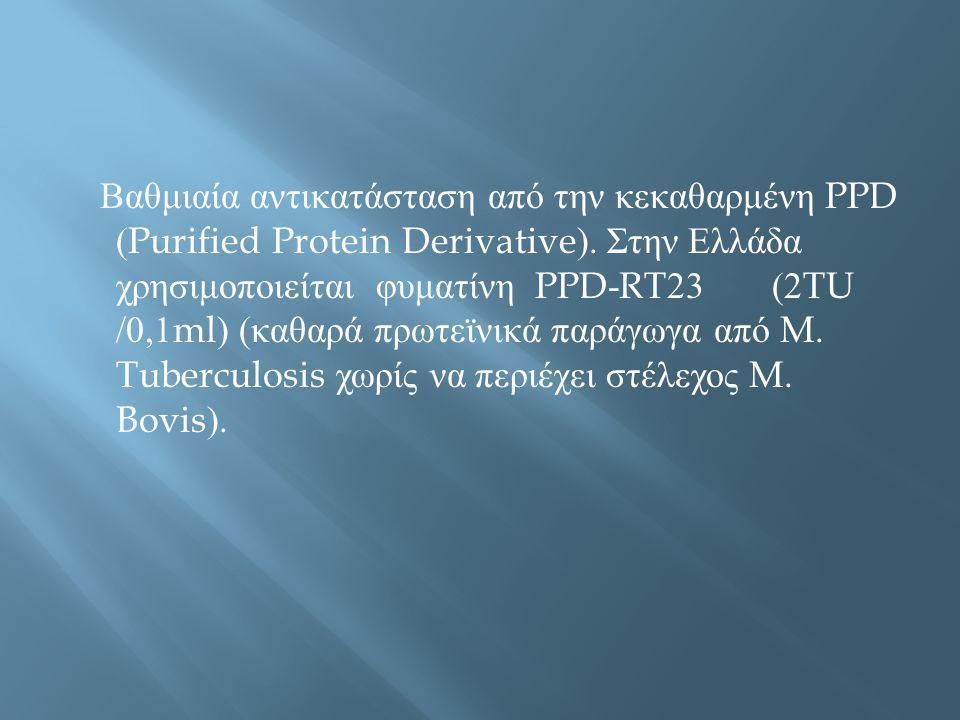 Βαθμιαία αντικατάσταση από την κεκαθαρμένη PPD (Purified Protein Derivative).