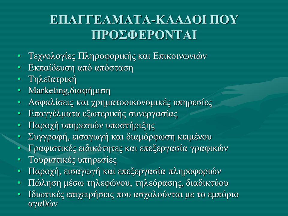 ΕΠΑΓΓΕΛΜΑΤΑ-ΚΛΑΔΟΙ ΠΟΥ ΠΡΟΣΦΕΡΟΝΤΑΙ