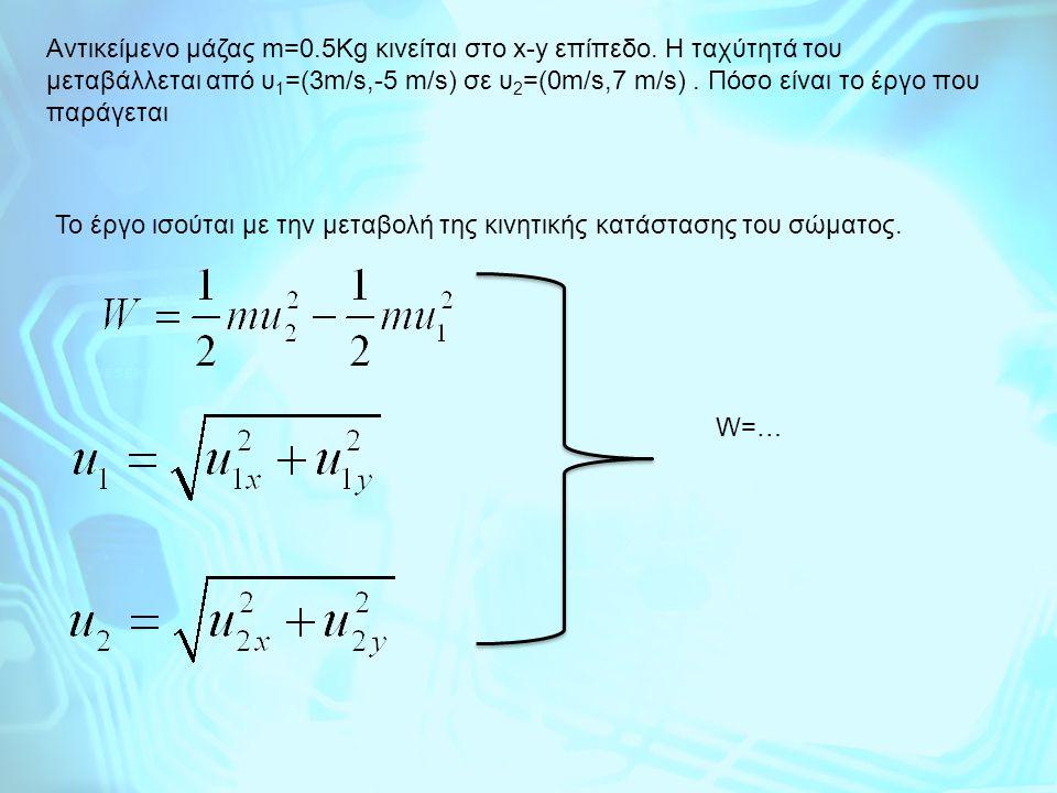Aντικείμενο μάζας m=0. 5Kg κινείται στο x-y επίπεδο