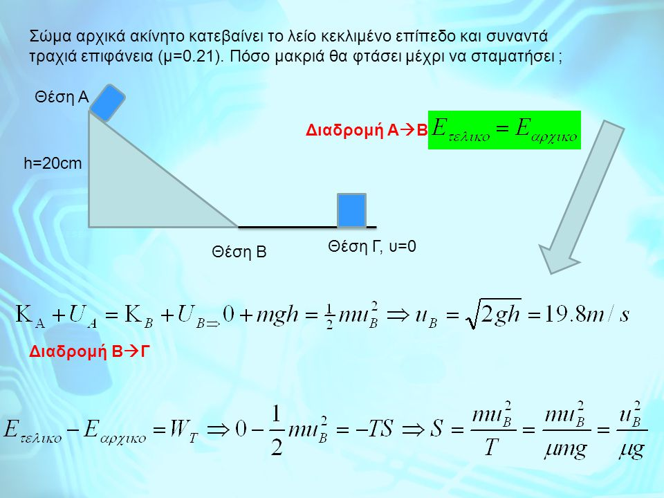 Σώμα αρχικά ακίνητο κατεβαίνει το λείο κεκλιμένο επίπεδο και συναντά τραχιά επιφάνεια (μ=0.21). Πόσο μακριά θα φτάσει μέχρι να σταματήσει ;
