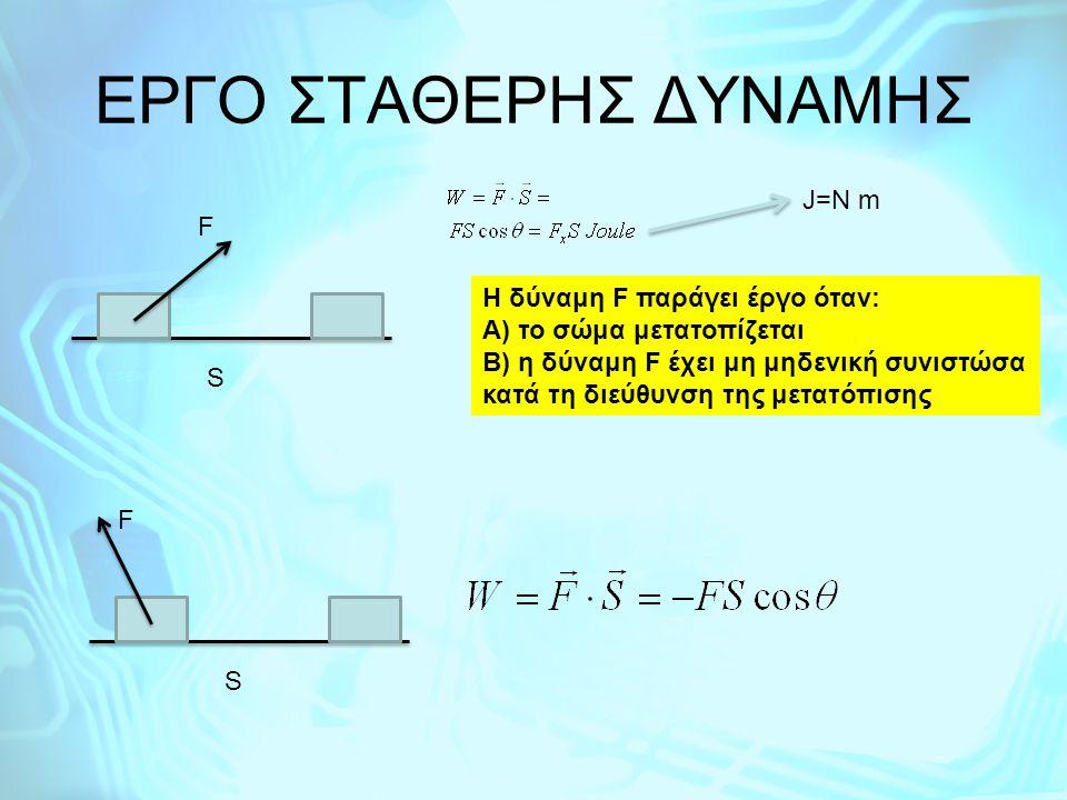EΡΓΟ ΣΤΑΘΕΡΗΣ ΔΥΝΑΜΗΣ J=N m F H δύναμη F παράγει έργο όταν: