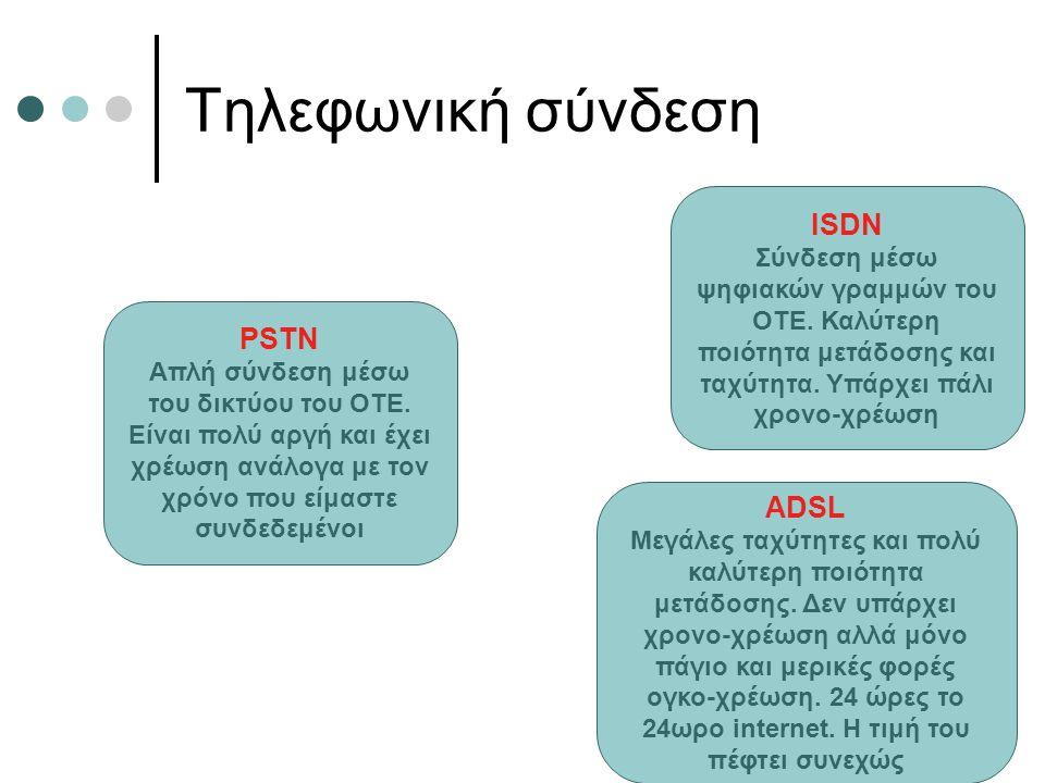 Τηλεφωνική σύνδεση ISDN PSTΝ ADSL
