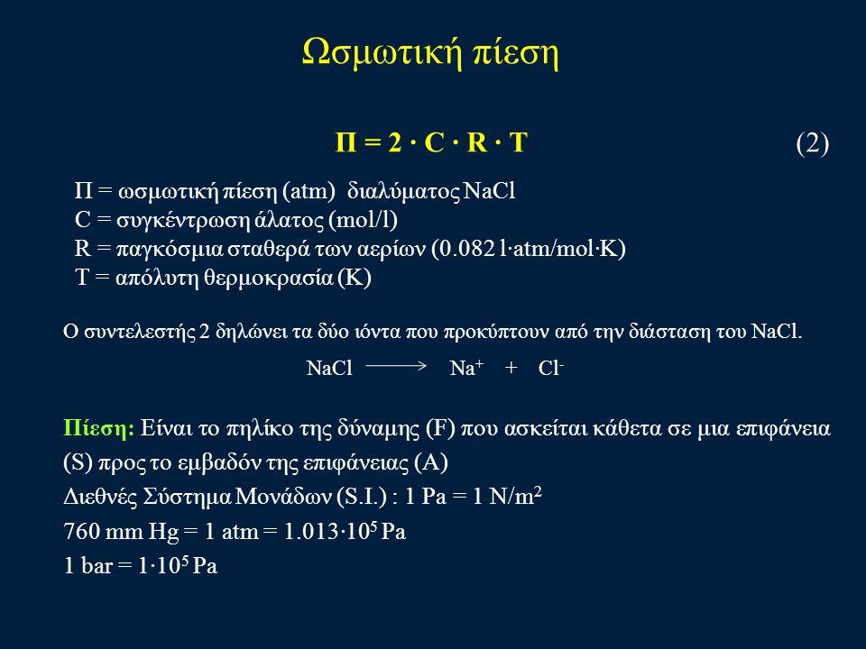 Ωσμωτική πίεση Π = 2 · C · R · T (2)