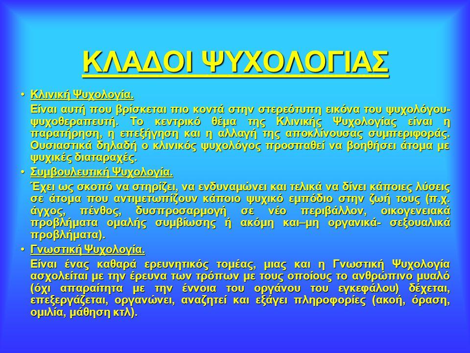 ΚΛΑΔΟΙ ΨΥΧΟΛΟΓΙΑΣ Κλινική Ψυχολογία.