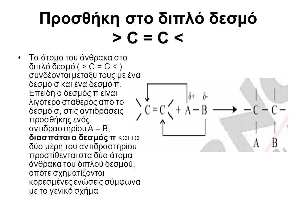 Προσθήκη στο διπλό δεσµό > C = C <