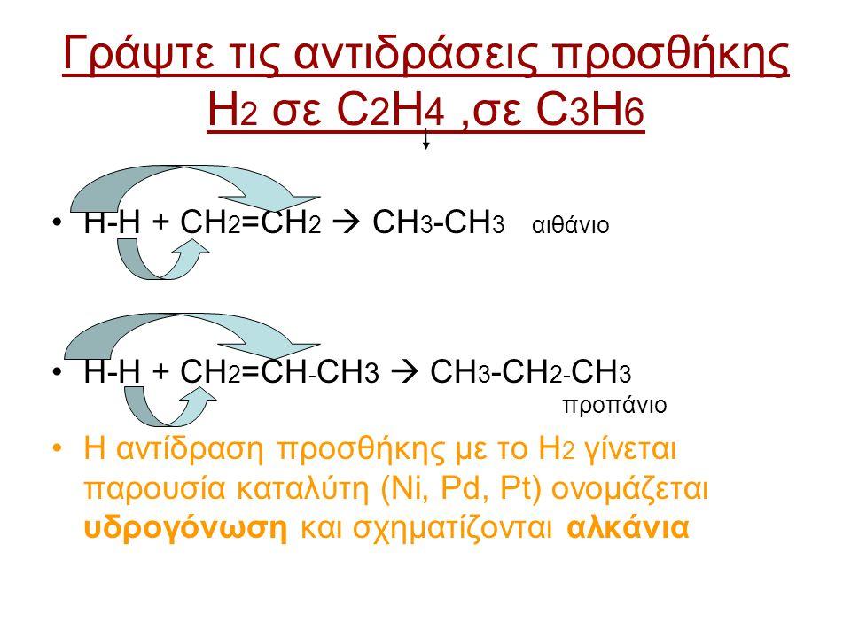 Γράψτε τις αντιδράσεις προσθήκης H2 σε C2H4 ,σε C3H6