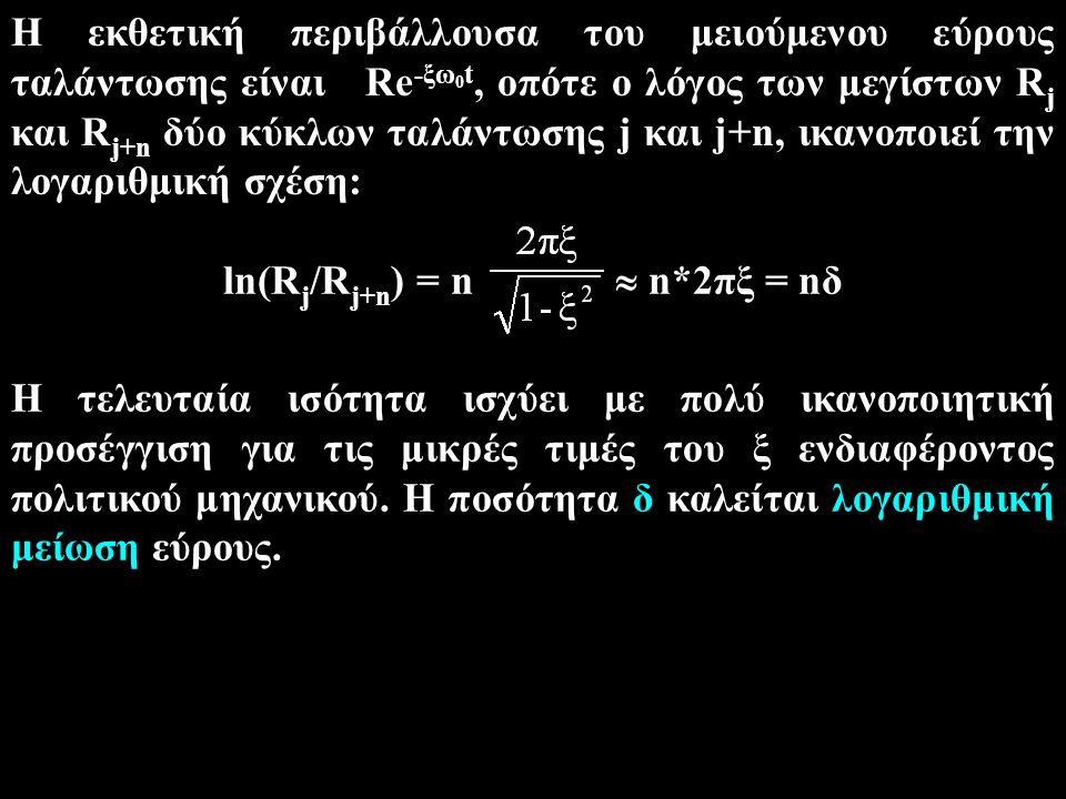 ln(Rj/Rj+n) = n  n*2πξ = nδ