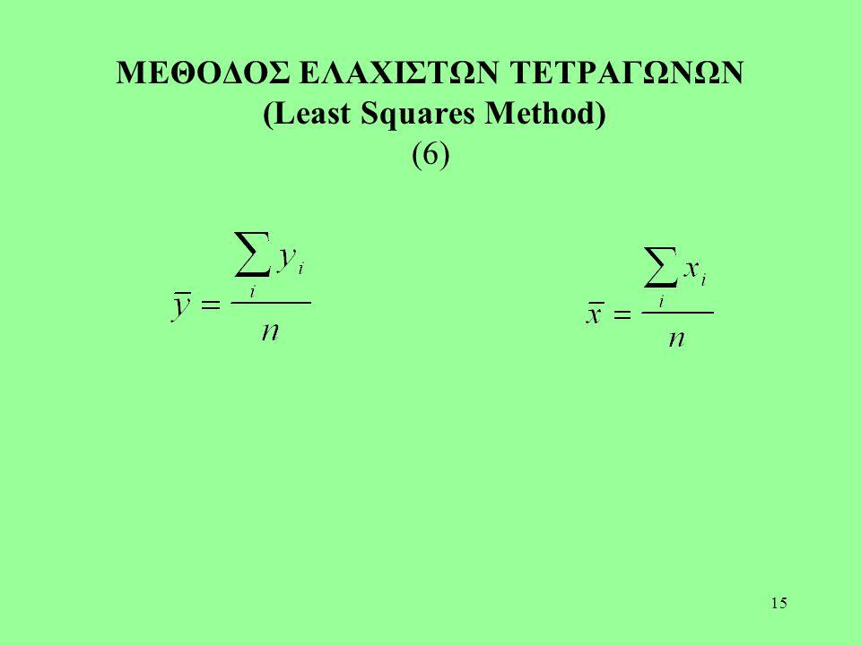 ΜΕΘΟΔΟΣ ΕΛΑΧΙΣΤΩΝ ΤΕΤΡΑΓΩΝΩΝ (Least Squares Method) (6)