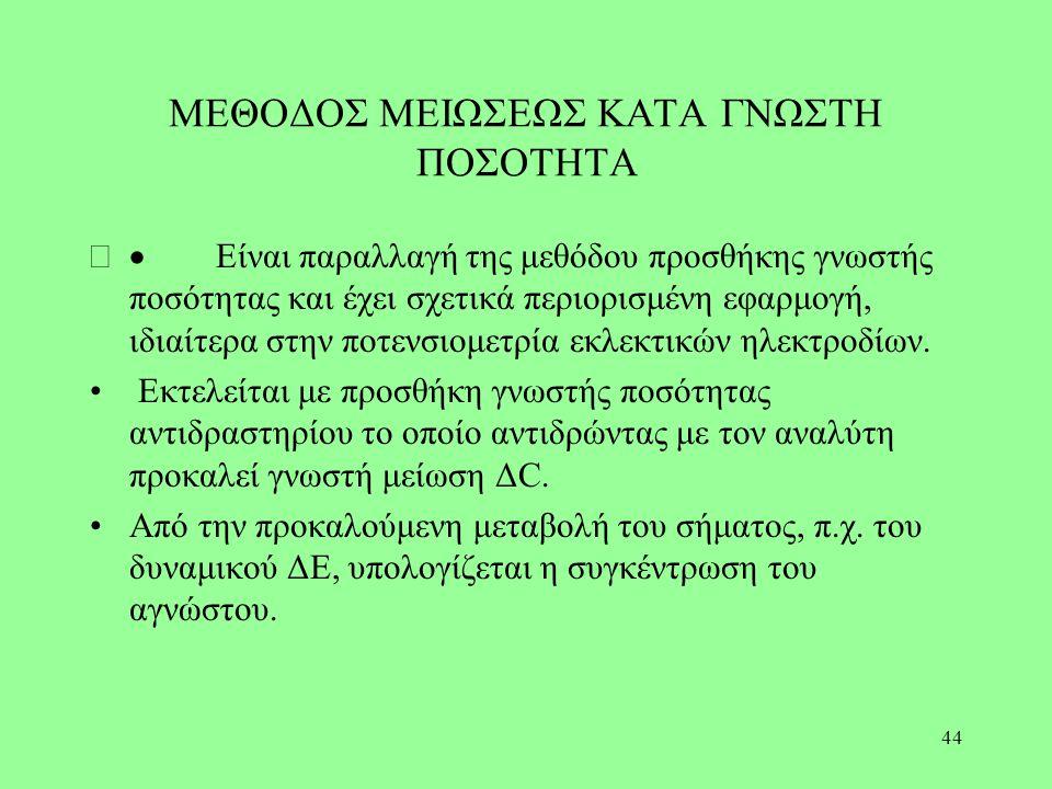 ΜΕΘΟΔΟΣ ΜΕΙΩΣΕΩΣ ΚΑΤΑ ΓΝΩΣΤΗ ΠΟΣΟΤΗΤΑ