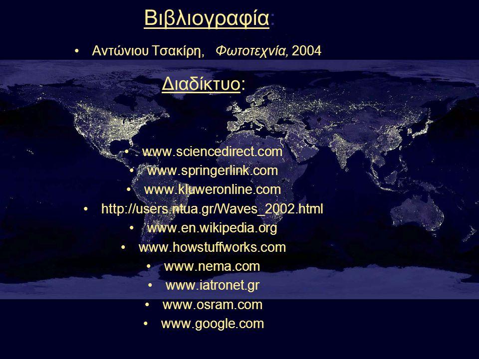 Βιβλιογραφία: Διαδίκτυο: Αντώνιου Τσακίρη, Φωτοτεχνία, 2004