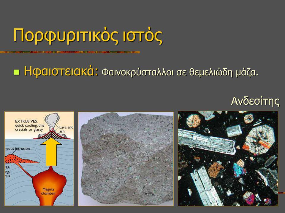 Πορφυριτικός ιστός Ηφαιστειακά: Φαινοκρύσταλλοι σε θεμελιώδη μάζα.