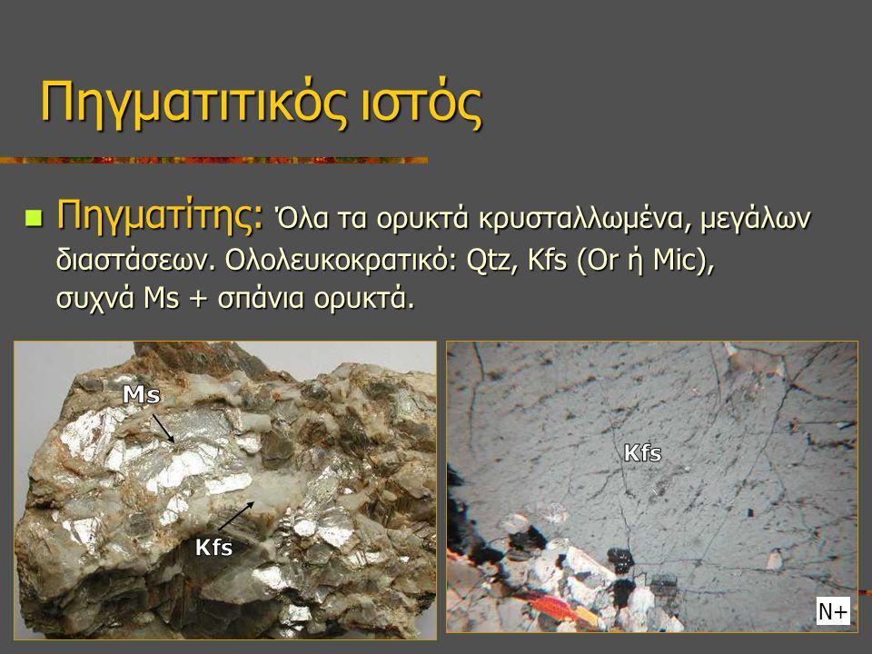 Πηγματιτικός ιστός Πηγματίτης: Όλα τα ορυκτά κρυσταλλωμένα, μεγάλων διαστάσεων. Ολολευκοκρατικό: Qtz, Kfs (Or ή Mic), συχνά Ms + σπάνια ορυκτά.