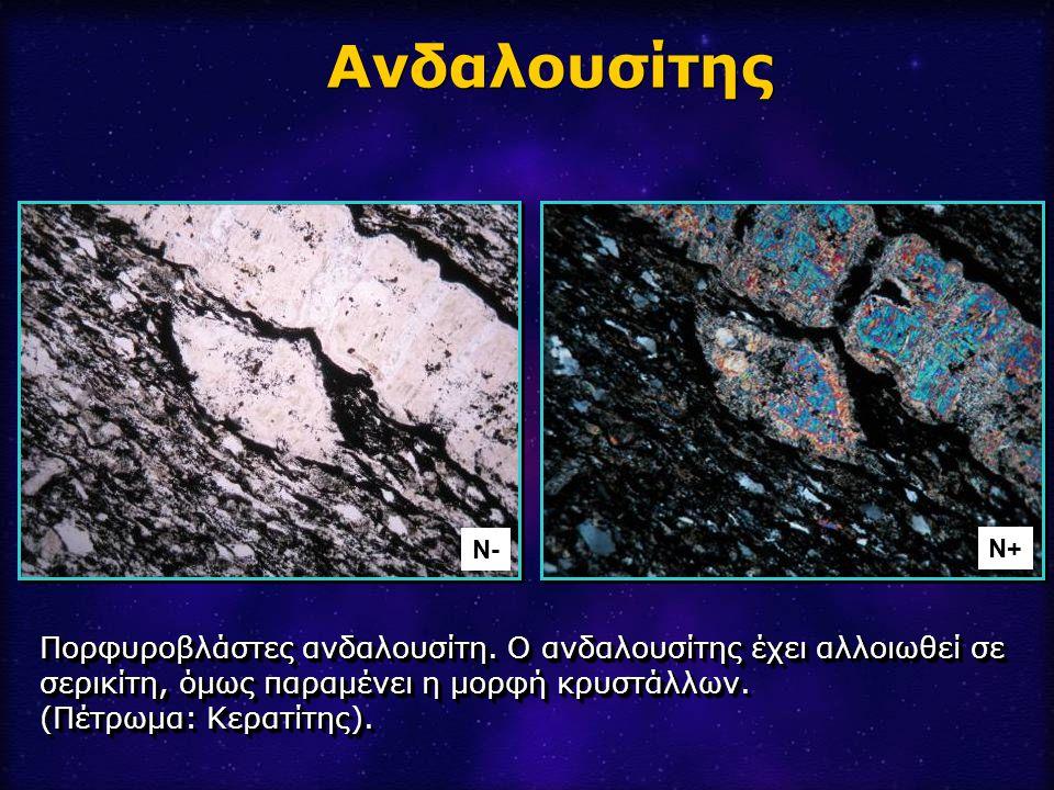 Ανδαλουσίτης Ν- Ν+ Πορφυροβλάστες ανδαλουσίτη. Ο ανδαλουσίτης έχει αλλοιωθεί σε σερικίτη, όμως παραμένει η μορφή κρυστάλλων.