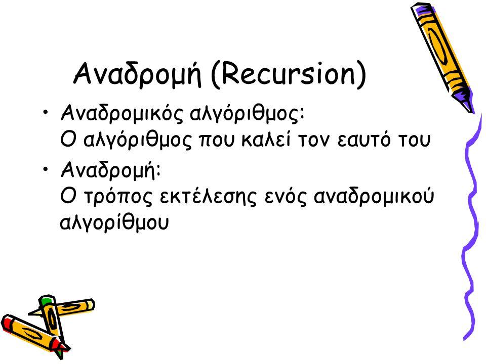 Αναδρομή (Recursion) Αναδρομικός αλγόριθμος: Ο αλγόριθμος που καλεί τον εαυτό του.
