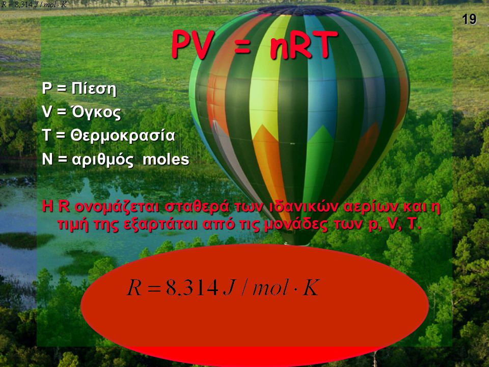 PV = nRT P = Πίεση V = Όγκος T = Θερμοκρασία N = αριθμός moles