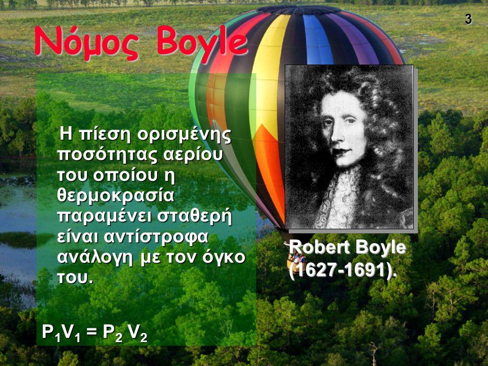 Νόμος Boyle P1V1 = P2 V2 Robert Boyle (1627-1691).