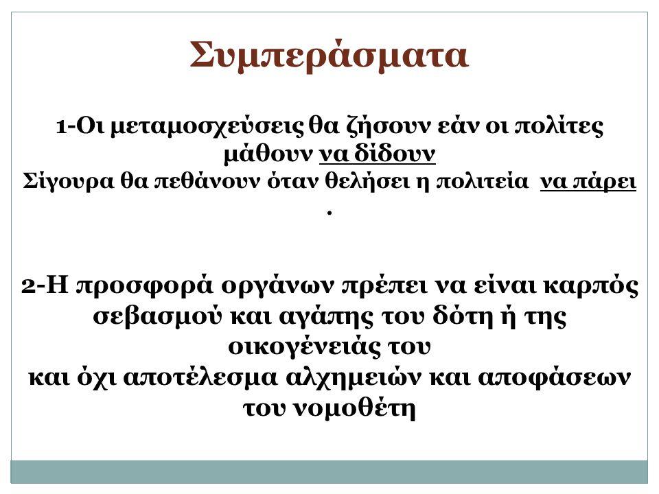 Συμπεράσματα 2-Η προσφορά οργάνων πρέπει να είναι καρπός
