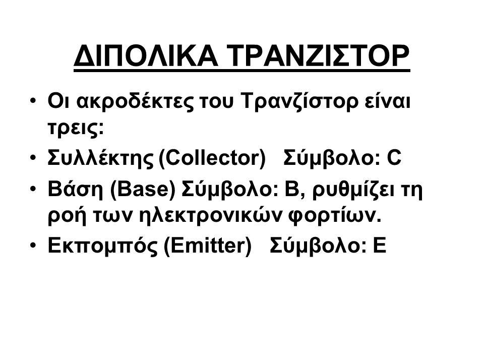 ΔΙΠΟΛΙΚΑ ΤΡΑΝΖΙΣΤΟΡ Οι ακροδέκτες του Τρανζίστορ είναι τρεις: