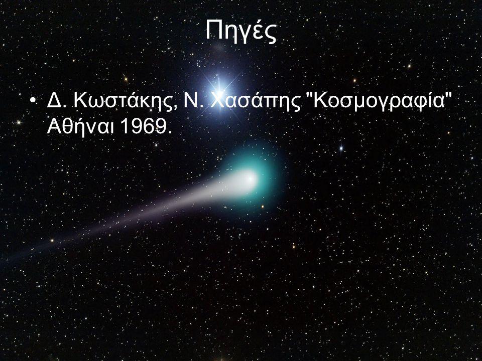 Πηγές Δ. Κωστάκης, Ν. Χασάπης Κοσμογραφία Αθήναι 1969.