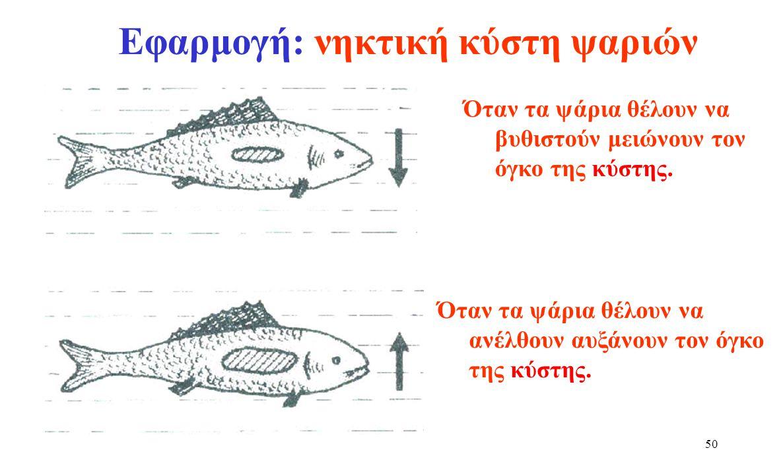Εφαρμογή: νηκτική κύστη ψαριών