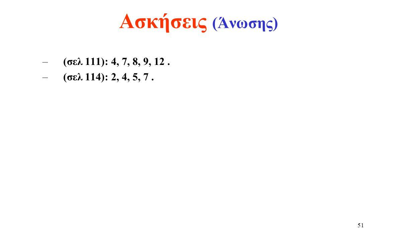Ασκήσεις (Άνωσης) (σελ 111): 4, 7, 8, 9, 12 . (σελ 114): 2, 4, 5, 7 .