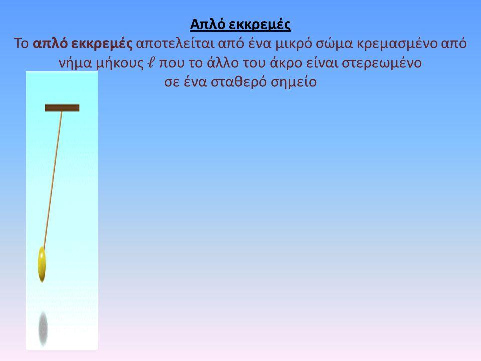 Απλό εκκρεμές Το απλό εκκρεμές αποτελείται από ένα μικρό σώμα κρεμασμένο από νήμα μήκους 𝓁 που το άλλο του άκρο είναι στερεωμένο.
