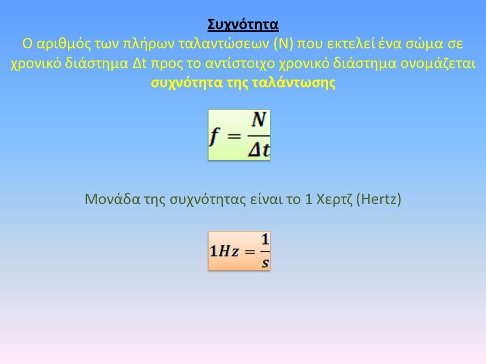 Μονάδα της συχνότητας είναι το 1 Χερτζ (Hertz)