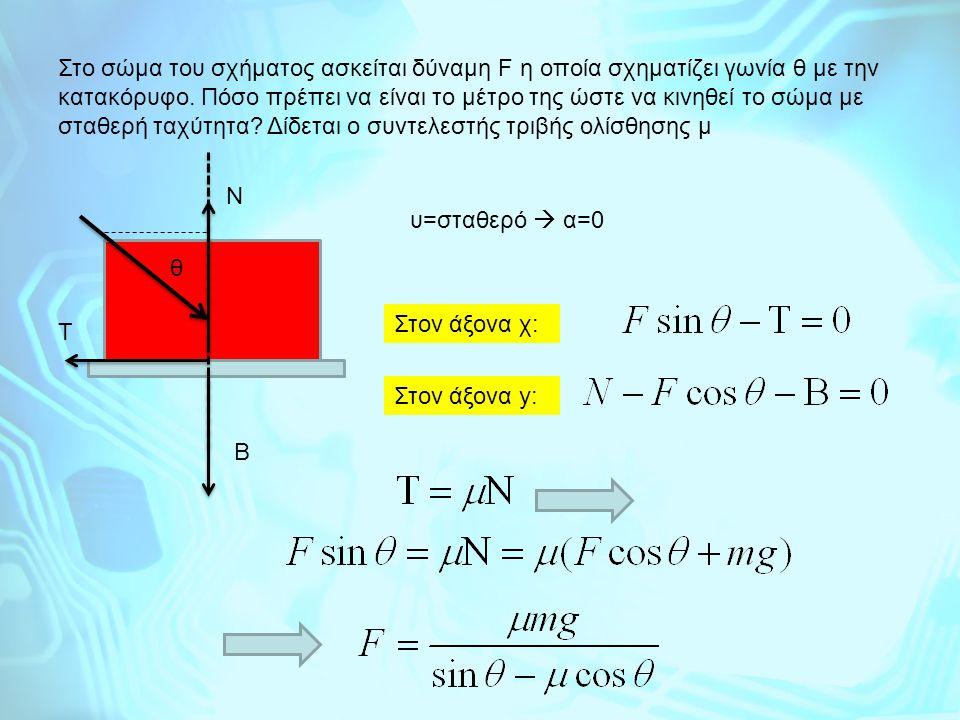 Στo σώμα του σχήματος ασκείται δύναμη F η οποία σχηματίζει γωνία θ με την κατακόρυφο. Πόσο πρέπει να είναι το μέτρο της ώστε να κινηθεί το σώμα με σταθερή ταχύτητα Δίδεται ο συντελεστής τριβής ολίσθησης μ