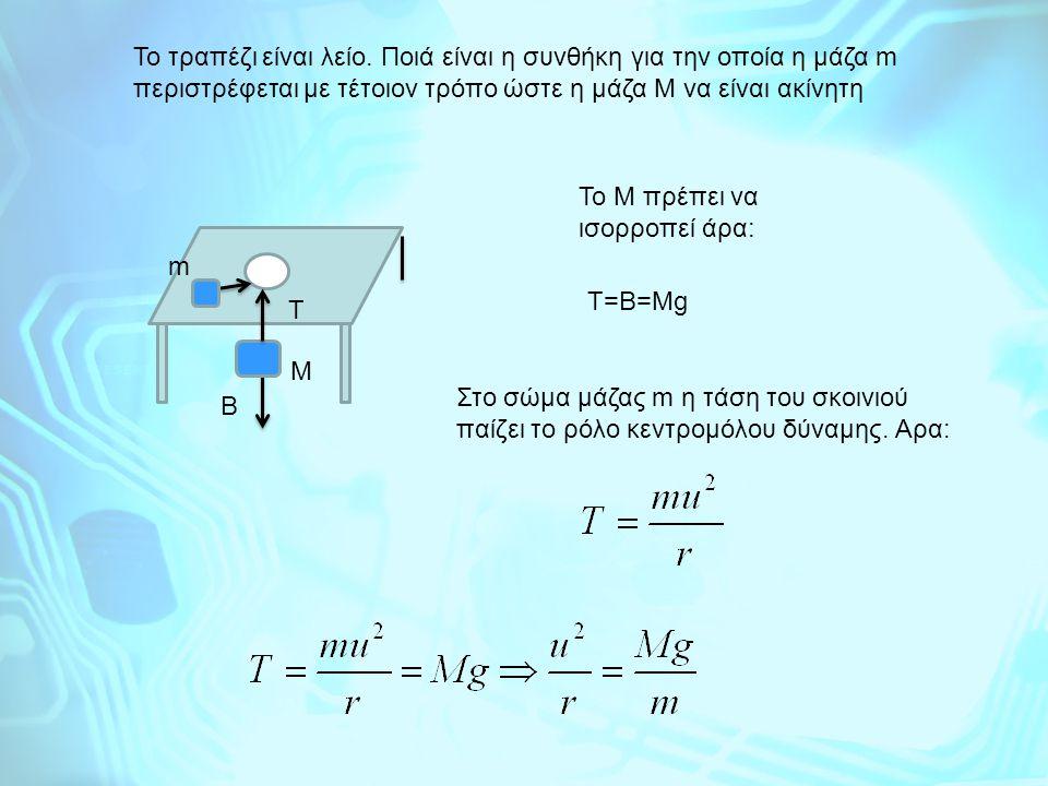 Το τραπέζι είναι λείο. Ποιά είναι η συνθήκη για την οποία η μάζα m περιστρέφεται με τέτοιον τρόπο ώστε η μάζα Μ να είναι ακίνητη