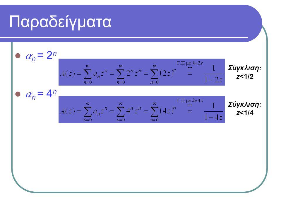 Παραδείγματα an = 2n an = 4n Σύγκλιση:z<1/2 Σύγκλιση:z<1/4