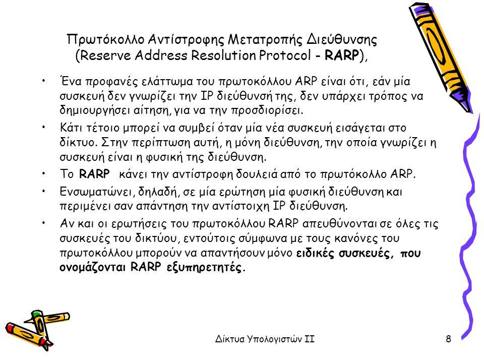 Πρωτόκολλο Αντίστροφης Μετατροπής Διεύθυνσης (Reserve Address Resolution Protocol - RARP),