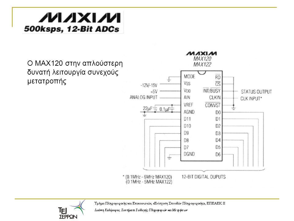 O MAX120 στην απλούστερη δυνατή λειτουργία συνεχούς μετατροπής