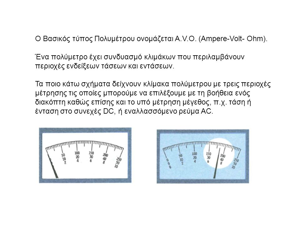 Ο Βασικός τύπος Πολυμέτρου ονομάζεται A.V.O. (Ampere-Volt- Ohm).