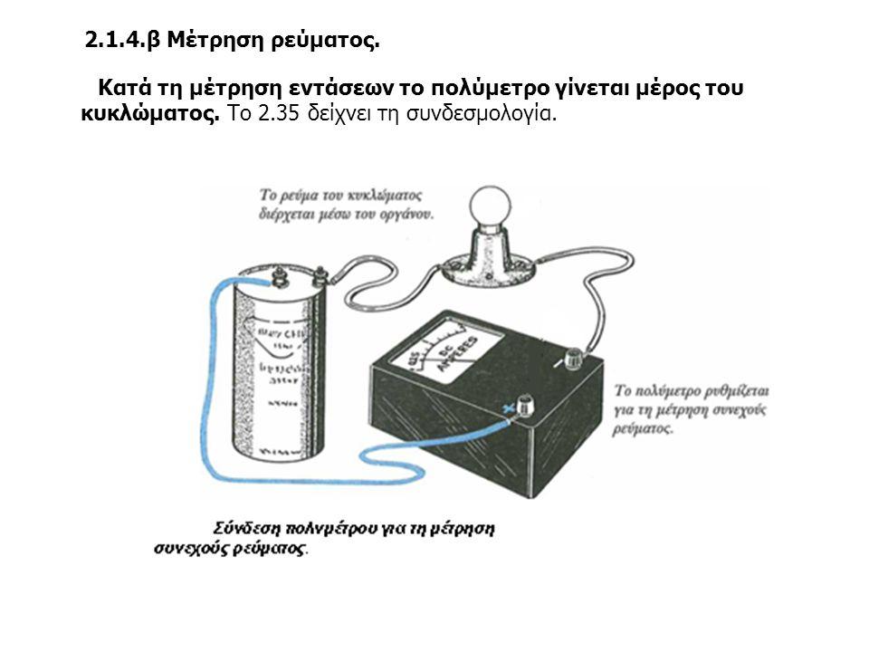 2.1.4.β Μέτρηση ρεύματος. Κατά τη μέτρηση εντάσεων το πολύμετρο γίνεται μέρος του κυκλώματος.