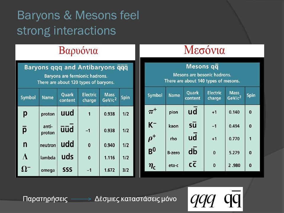 Baryons & Mesons feel strong interactions