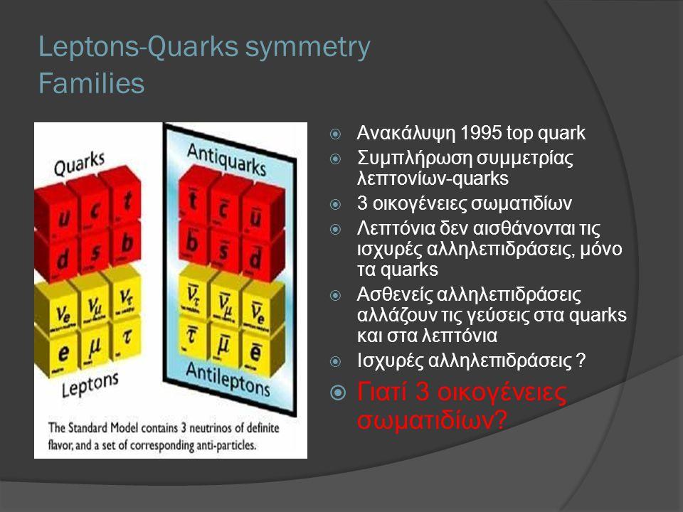 Leptons-Quarks symmetry Families