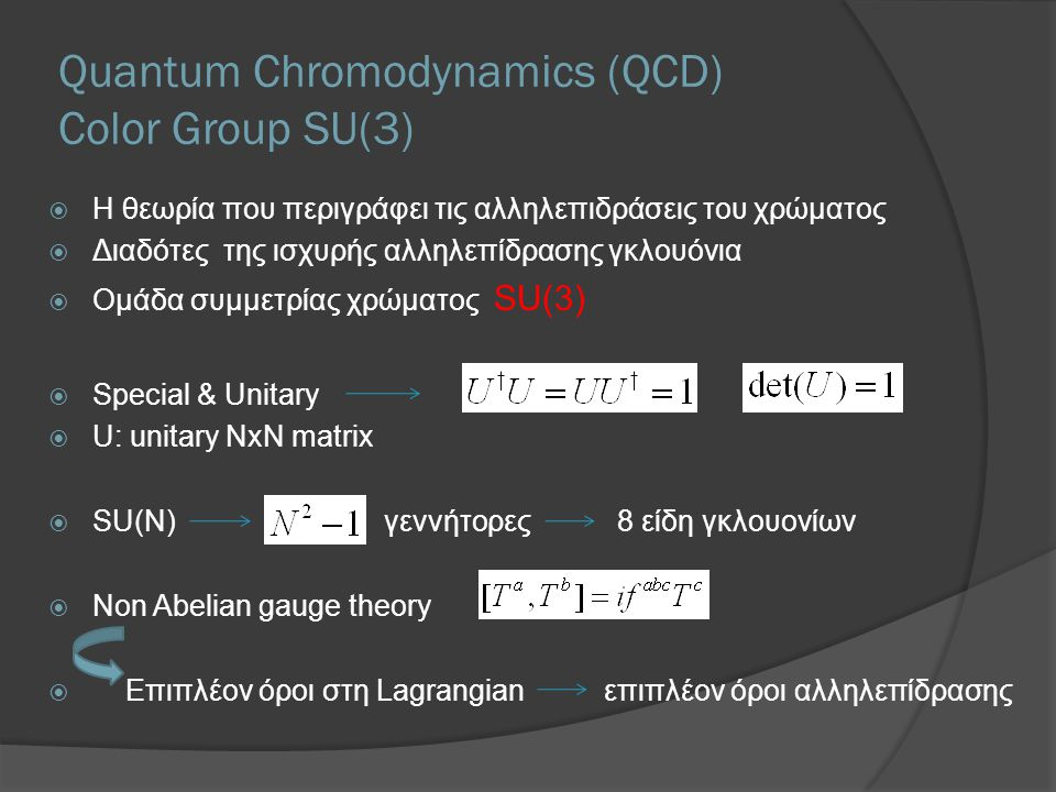 Quantum Chromodynamics (QCD) Color Group SU(3)