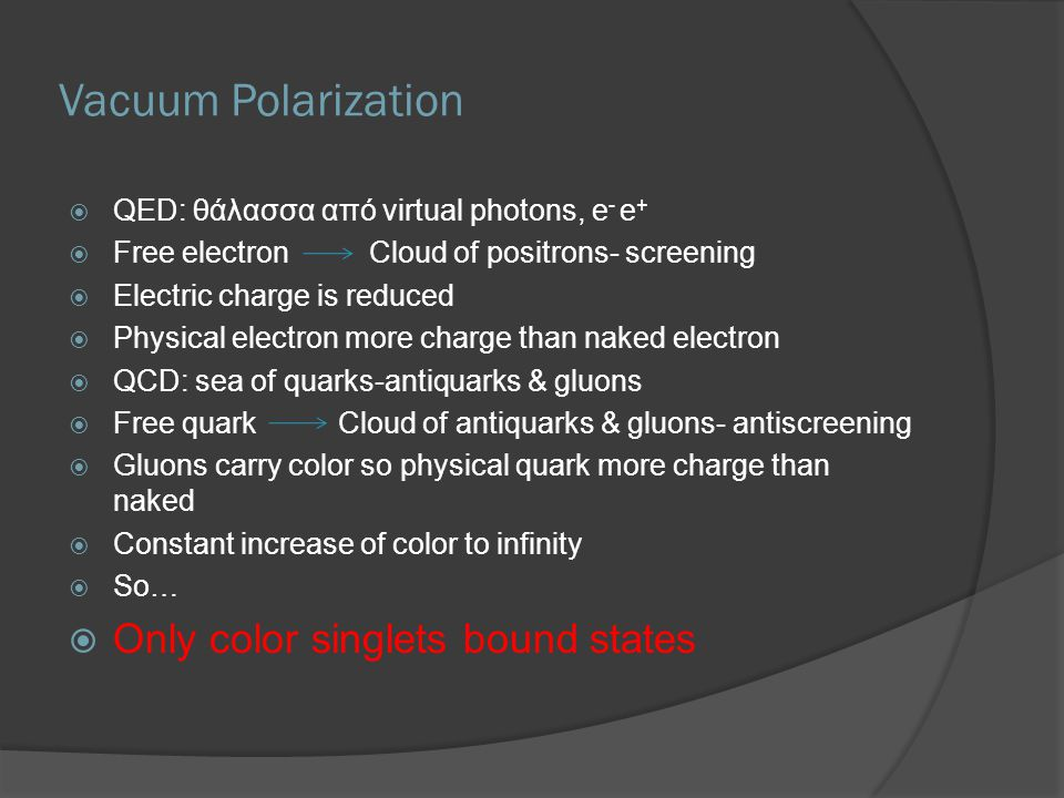 Vacuum Polarization Only color singlets bound states