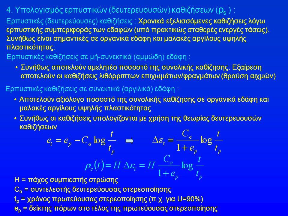 4. Υπολογισμός ερπυστικών (δευτερευουσών) καθιζήσεων (ρs ) :