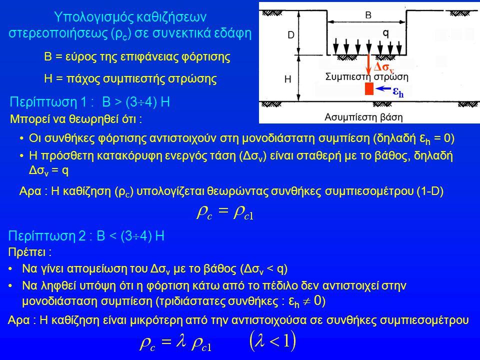 Υπολογισμός καθιζήσεων στερεοποιήσεως (ρc) σε συνεκτικά εδάφη