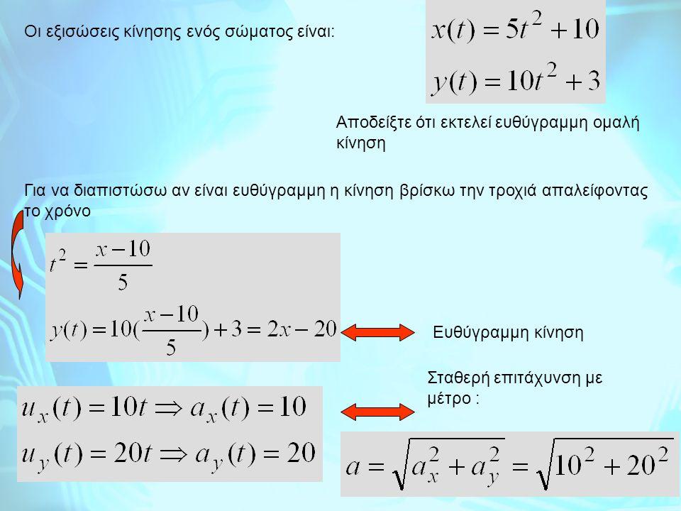Οι εξισώσεις κίνησης ενός σώματος είναι: