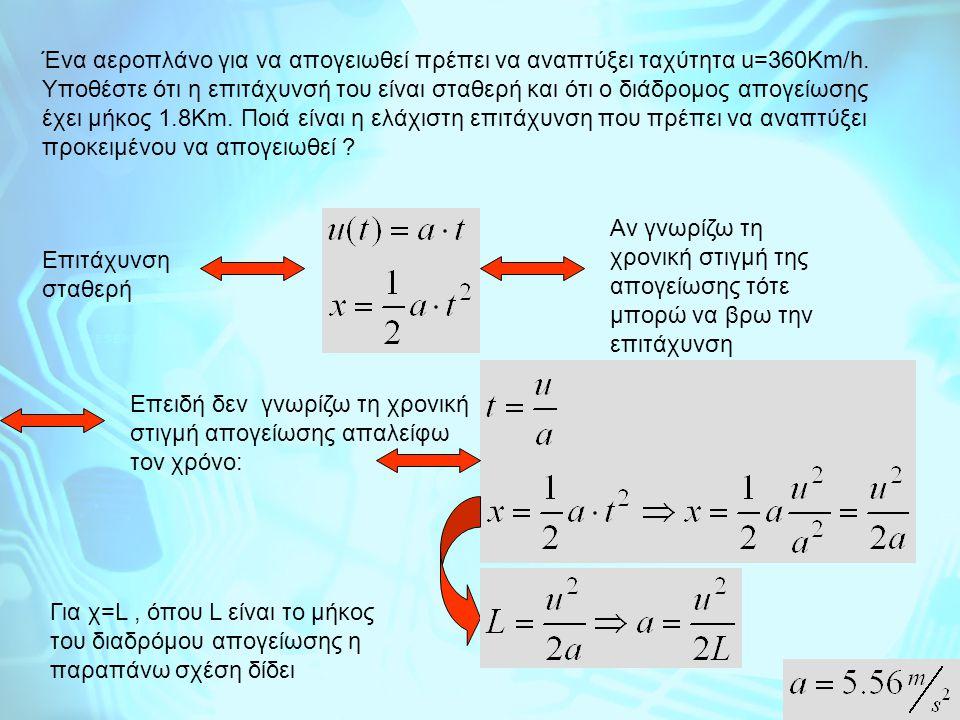 Ένα αεροπλάνο για να απογειωθεί πρέπει να αναπτύξει ταχύτητα u=360Km/h