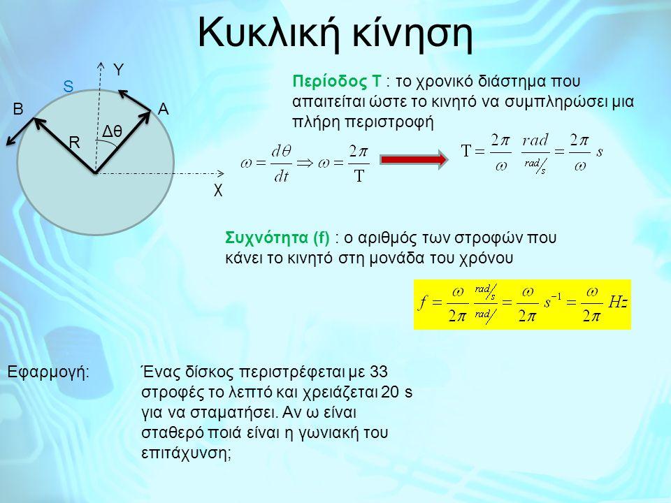Kυκλική κίνηση Β Α R Δθ χ Υ S
