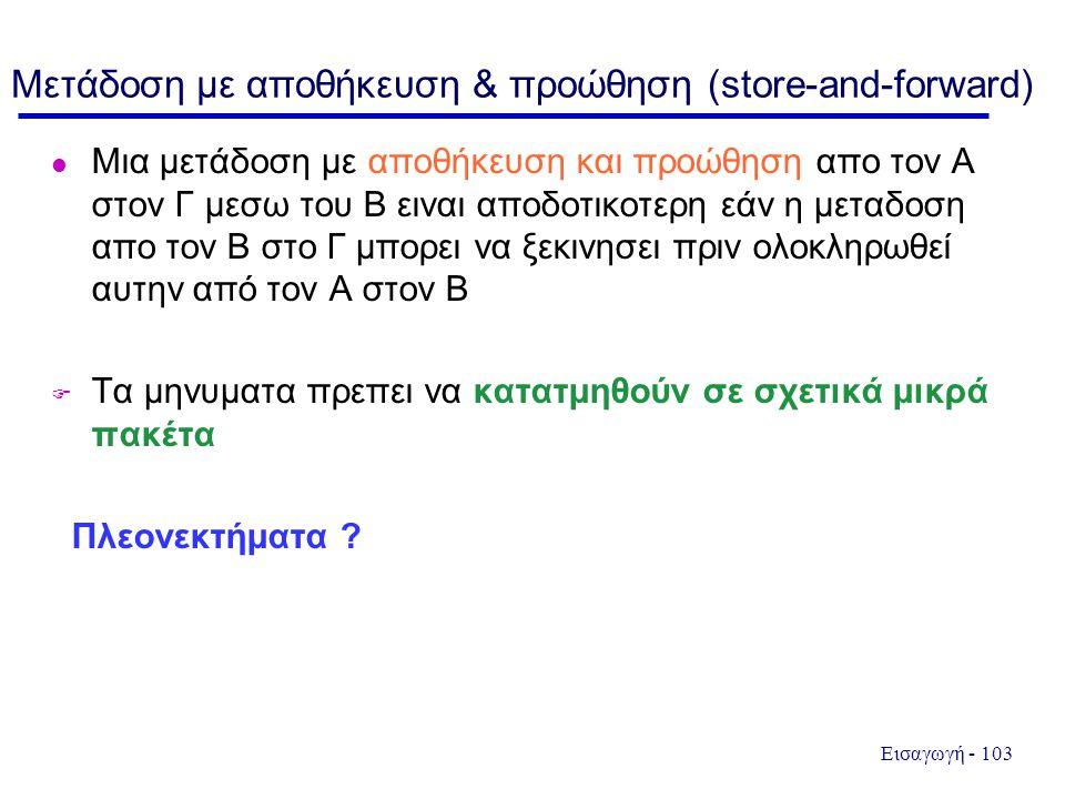 Μετάδοση με αποθήκευση & προώθηση (store-and-forward)