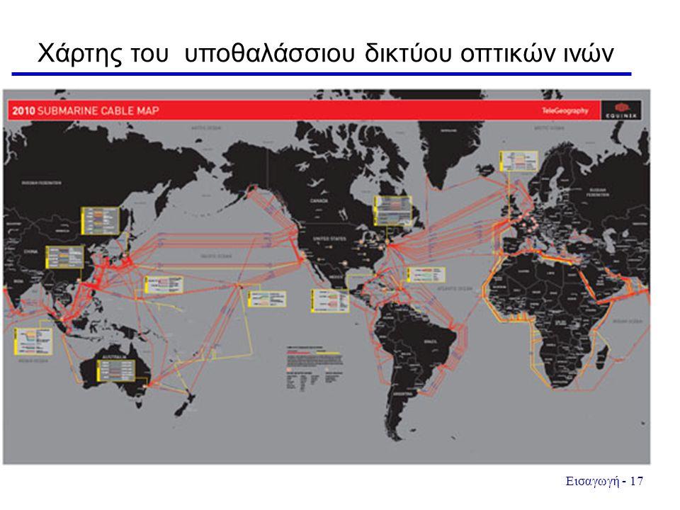 Χάρτης του υποθαλάσσιου δικτύου οπτικών ινών