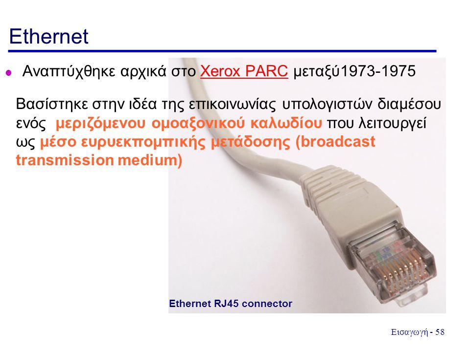 Ethernet Αναπτύχθηκε αρχικά στο Xerox PARC μεταξύ1973-1975