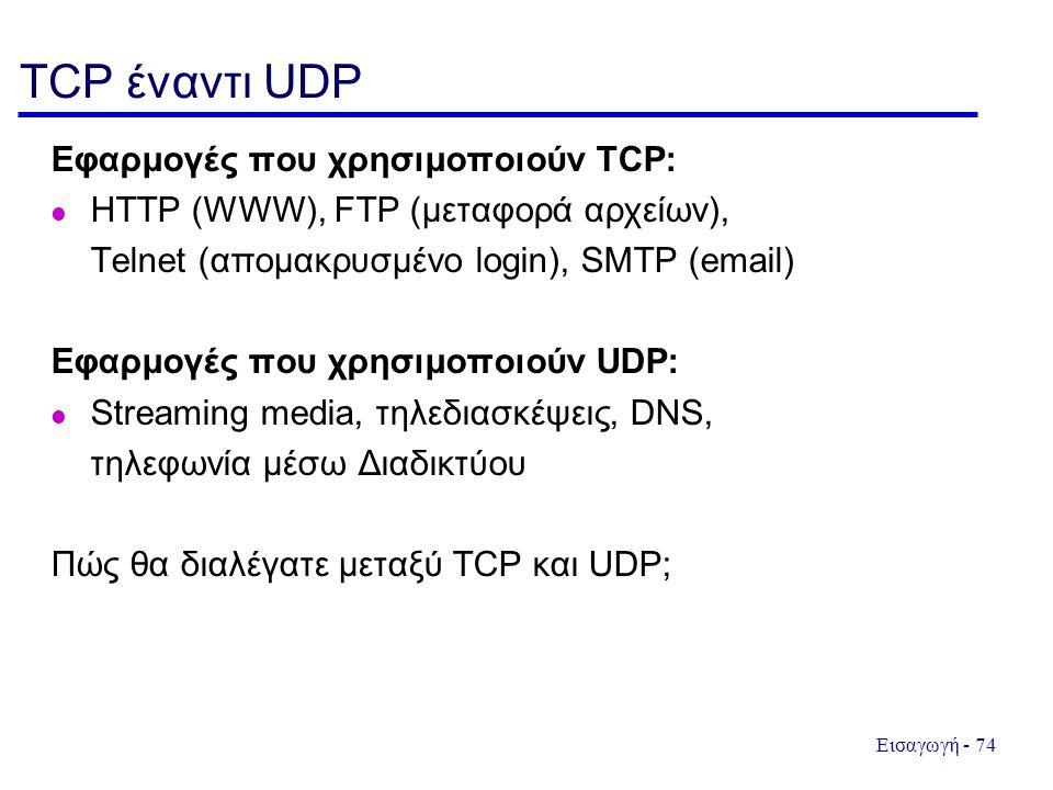 TCP έναντι UDP Εφαρμογές που χρησιμοποιούν TCP: