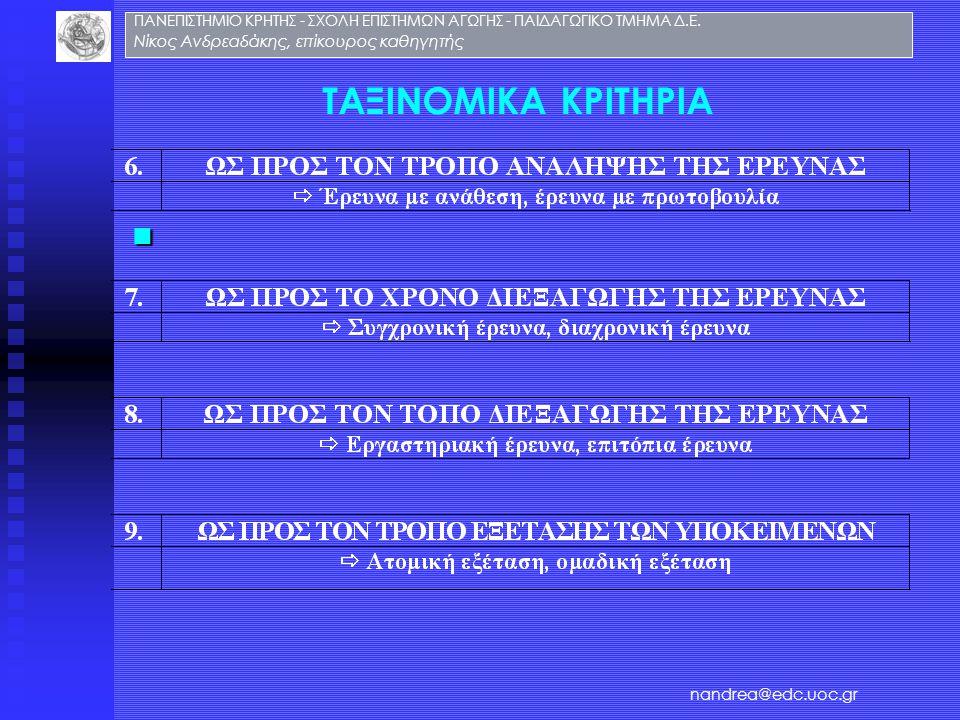 ΤΑΞΙΝΟΜΙΚΑ ΚΡΙΤΗΡΙΑ Νίκος Ανδρεαδάκης, επίκουρος καθηγητής